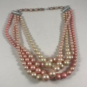 Vintage Faux Pink Pearl Necklace, Vintage Jewelry